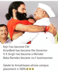 Anaconda, Memes, and Baba: Kejri has become CM  KiranBedi has become the Governor  V K Singh has become a Minister  Baba Ramdev became no.1 businessman  Salute to AnnaHazare whose campus  placement is 100%  OV belikebro
