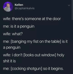 Shit, The Penguin, and Penguin: Kellen  @captainkalvis  wife: there's someone at the door  me: is it a penguin  wife: what?  me: [banging my fist on the table] is it  a penguin  wife: i don't [looks out window] holy  shit it is  me: [cocking shotgun] so it begins. The Penguin invasions started