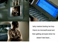The director of this music video went full retard...: kelly rowland texting her boy-  friend via microsoft excel and  then getting annoyed when he  doesn't text back... The director of this music video went full retard...