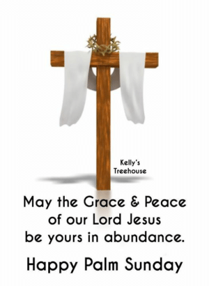Jesus, Memes, and Happy: Kelly's  Treehouse  May the Grace & Peace  of our Lord Jesus  be yours in abundance.  Happy Palm Sunday