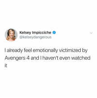 Avengers, Relatable, and Reading: Kelsey Impicciche *  @kelseydangerous  I already feel emotionally victimized by  Avengers 4 and I haven't even watched  it if you don't feel so well after reading this, you need to go follow @dangerousatanyspeed immediately 😊