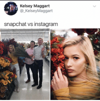 Amazon, Apple, and Instagram: Kelsey Maggart  @_KelseyMaggart  snapchat vs instagram If hobby lobby and michaels changed their business models to Instagram photo studios they would be worth more than amazon and Apple combined