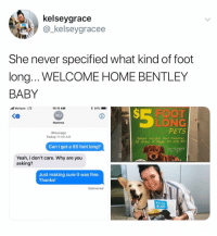 Verizon, Yeah, and Bentley: kelseygrace  _kelseygracee  She never specified what kind of foot  long.. WELCOME HOME BENTLEY  BABY  l Verizon LTE  * 91%  11:11 AM  MJ  Mamm  PETS  iMessage  Today 11:09 AM  Adopt any pet that measures  12 inches or longer for only $5!  Can I get a $5 foot long?  SEPTEMBER  ST- 8T  Yeah, i don't care. Why are you  asking?  Just making sure it was fine.  Thanks!  Delivered  WEL OME  HoME @_kelseygracee