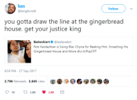 Blac Chyna, Blackpeopletwitter, and Ken: ken  @kingbvndit  Follow  you gotta draw the line at the gingerbread  house. get your justice king  BallerAlert@balleralert  Rob Kardashian is Suing Blac Chyna for Beating Him, Smashing His  Gingerbread House and More dlvr.it/PaxCPT  8:58 PM-27 Sep 2017  2,796 Retweets 3,845 Likes <p>The True Victim (via /r/BlackPeopleTwitter)</p>