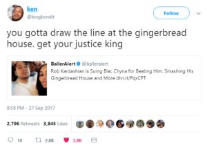 The True Victim: ken  @kingbvndit  Follow  you gotta draw the line at the gingerbread  house. get your justice king  BallerAlert@balleralert  Rob Kardashian is Suing Blac Chyna for Beating Him, Smashing His  Gingerbread House and More dlvr.it/PaxCPT  8:58 PM-27 Sep 2017  2,796 Retweets 3,845 Likes The True Victim