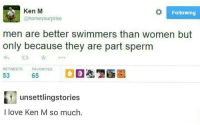 We're all part sperm.: Ken M  Following  @horsey surprise  men are better swimmers than women but  only because they are part sperm  RETWEETS  FAVORITES  53  65  unsettlingstories  I love Ken M so much We're all part sperm.