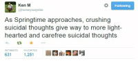 me irl: Ken M  Following  @horseysurprise  As Springtime approaches, crushing  suicidal thoughts give way to more light-  hearted and carefree suicidal thoughts  RETWEETS  FAVORITES  631  1,251 me irl