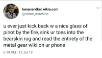 Fire, Phone, and Wiki: kenanandkel.wikia.com  @slime_machine  u ever just kick back w a nice glass of  pinot by the fire, sink ur toes into the  bearskin rug and read the entirety of the  metal gear wiki on ur phone  6:19 PM 12 Jul 18 Meirl
