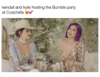Wat do we think of Kylie's purple hair?!? LMK in comments!: kendall and kylie hosting the Bumble party  at Coachella Wat do we think of Kylie's purple hair?!? LMK in comments!