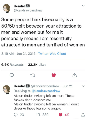 """I'm what they call """"reluctantly bi"""": Kendra  @kendrawcandraw  Some people think bisexuality is a  50/50 split between your attraction to  men and women but for me it  personally means I am resentfully  attracted to men and terrified of women  3:16 AM Jun 21, 2019 Twitter Web Client  6.9K Retweets  33.3K Likes  Kendra @kendrawcandraw Jun 21  Replying to @kendrawcandraw  Me on tinder swiping left on men: These  fuckos don't deserve me  Me on tinder swiping left on women: I don't  deserve these fearsome angels  389  4K  23 I'm what they call """"reluctantly bi"""""""