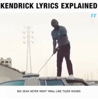 Big Sean, Memes, and Tiger Woods: KENDRICK LYRICS EXPLAINED  MY LEFT STROKE UST WENT VIRA  BIG SEAN NEVER WENT VIRAL LIKE TIGER WOODS I'm finally off now I can get ready for tomorrow