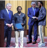 Memes, Phenomenal, and Hair: kendricklamar picked up his pullitzer prize today!! What a phenomenal accomplishment 🔥 If only the youth will take some notes, you don't need rainbow hair and grills to get famous 🤔