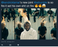 Ass, Blackpeopletwitter, and Fire: @kendricklamar's new joint #behumble is so  fire it set his own shit on fire  2 3 6  ream  er  vevo  6:03 PM-30 Mar 2017 <p>Show me something natural, like ass with some stretch marks (via /r/BlackPeopleTwitter)</p>