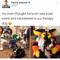 Memes, Thought, and Mom: kenny wassus  dirt  beater,  my mom thought furrycon was a pet  event and volunteered w our therapy  dog