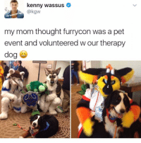 Whose mom would do this? @x__social_butterfly__x has hilarious doggo memes. Tw kgw: kenny wassus  @kgw  my mom thought furrycon was a pet  event and volunteered w our therapy Whose mom would do this? @x__social_butterfly__x has hilarious doggo memes. Tw kgw