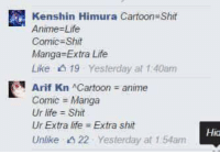 Animeds: Kenshin Himura Cartoon-Shit  Anime-Life  Comic Shiite  Manga Extra Life  Like 19 Yesterday at 1:40am  E Arif Kn Cartoon anime  Comic Manga  Ur life Shit  Ur Extra life Extra shit  Unlike 22 Yesterday at 1.54am  Hida