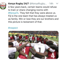 Family, Respect, and Fiji: Kenya Rugby 24/7 @KenyaRugby..  14h  KENYA  RUGBA few years back, certain teams would refuse  to train or share changing rooms witlh  #Kenya7s. They felt that they were above us.  Fiji is the one team that has always treated us  as family. Win or lose they are our brothers and  this picture is testament of that.  #respect  Round 6 <p>Brothers</p>