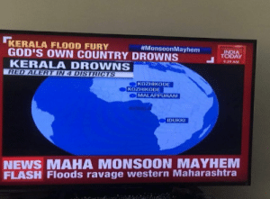 Not a city, or a state, or even a country. They got a freaking wrong continent all together. Next time they'll say that the Andaman and Nicobar islands are in actuality the British isles! Also, let's not forget the fact that they've somehow got two Kozhikodes in that map as well.: KERALA FLOOD FURY  GOD'S OWN COUNTRY DROWNS  KERALA DROWNS  RED ALERT IN 4 DISTRICTS  #MonsoonMayhem  INDIA  TODAY  9:29 AM  KOZHIKODE  KOZHIKODE  MALAPPURAM  ERALA  IDUKKI  NEWS MAHA MONSOON MAYHEM  FLASH Floods ravage western Maharashtra Not a city, or a state, or even a country. They got a freaking wrong continent all together. Next time they'll say that the Andaman and Nicobar islands are in actuality the British isles! Also, let's not forget the fact that they've somehow got two Kozhikodes in that map as well.