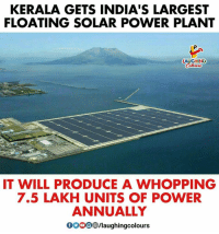#Floating_Solar_Plant: KERALA GETS INDIA'S LARGEST  FLOATING SOLAR POWER PLANT  LAUGHING  IT WILL PRODUCE A WHOPPING  7.5 LAKH UNITS OF POWER  ANNUALLY  GOOO/laughingcolours #Floating_Solar_Plant