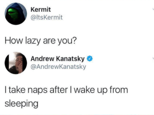 Dank, Lazy, and Sleeping: Kermit  @ltsKermit  How lazy are you?  Andrew Kanatsky  @AndrewKanatsky  I take naps after I wake up from  sleeping I like taking naps, and that's just what I'll do.