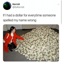 Girl Memes, Name, and Kermit: Kermit  @ltsKermit  If T had a dollar for everytime someone  spelled my name wrong GWNJ. NOT GWUNJ.