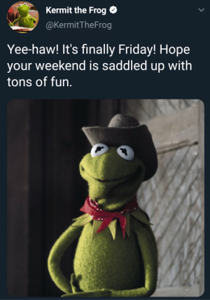What in motivation: Kermit the Frog O  @KermitTheFrog  Yee-haw! It's finally Friday! Hope  your weekend is saddled up with  tons of fun. What in motivation