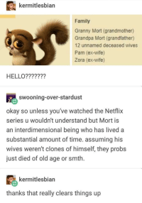 Family, Hello, and Netflix: kermitlesbian  Family  Granny Mort (grandmother)  Grandpa Mort (grandfather)  12 unnamed deceased wives  Pam (ex-wife)  Zora (ex-wife)  HELLO???????  swooning-over-stardust  okay so unless you've watched the Netflix  series u wouldn't understand but Mort is  an interdimensional being who has lived a  substantial amount of time. assuming his  wives weren't clones of himself, they probs  just died of old age or smth  るkermitlesbian  thanks that really clears things up The truth about Mort