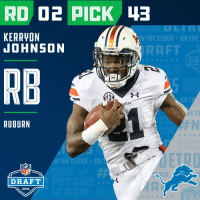 With the #43 overall pick in the 2018 #NFLDraft, the @Lions select RB Kerryon Johnson (@AyeyoKEJO)!  📺: NFLN/FOX/ESPN https://t.co/MFImV2Fr3F: KERRYON  JOHNSON  N THE CLOCK  ON THE  RAFT  RB  ON TI  AUBURN  律N  N THE CLOCK ON  NFL  DRAFT  2018  DRA With the #43 overall pick in the 2018 #NFLDraft, the @Lions select RB Kerryon Johnson (@AyeyoKEJO)!  📺: NFLN/FOX/ESPN https://t.co/MFImV2Fr3F