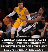 All Star, Basketball, and Los Angeles Lakers: KERS  IG: CALLDAYBBALL  D'ANGELO RUSSELL AND TIMOFEY  MOZGOV HAVE BEEN TRADED TO  BROOKLYN FOR BROOK LOPEZ AND  THE 27TH PICK IN THE DRAFT. I'm okay with this trade. I've always thought Brook Lopez has been underrated, and I think he's an All Star center who didn't get any recognition on a terrible irrelevant Nets team these past few years. He is a very good scorer, and a solid rim protector. As for D'Angelo Russell his attitude has always been sub par, he's been immature, and he has had a lifetime of locker room issues already. Plus the Lakers get rid of Mosgov's terrible contract which means they have plenty of money to sign a big FA in the next offseason, or this offseason. As for the Nets, they gamble on an immature Russell with plenty of potential. The question is will he ever meet that potential. If he does meet that potential, this trade will pay off for the Nets long term. Decent trade both ways, but I think the Lakers got the better deal as of now. - nba nbadebate debate Kobe lebronjames kyrieirving stephcurry jordan mj goat kawhileonard russellwestbrook jamesharden kevindurant nbafinals nbachamps nbaplayoffs basketball bball ballislife