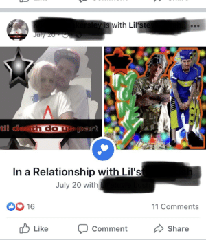 This guy went to my school. Popped up on my FB feed, Dude is over 30. I thought that was just a high school phase...: kersley is with Lil'ste  July 20  deth do u  GA  til death do us part  In a Relationship with Lil's  July 20 with  11 Comments  16  Like  Share  Comment This guy went to my school. Popped up on my FB feed, Dude is over 30. I thought that was just a high school phase...