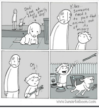 Food, Com, and Www: kes  Someon e  need s  ok mel  u+ that  ani maI out  miser y  On  FooD  www.lunarbaboon.Com A little heartwarmer