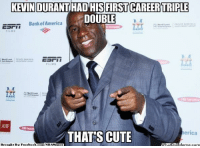 America, Cute, and Facebook: KEVIN DURANT HAD HIS FIRST CAREER TRIPLE  DOUBLE  Bank of America  Merrill  LMS  THATS CUTE  erica  t By Facebook  com/NBAMennes Magic: That's Cute Credit: Harvin Galit  http://whatdoumeme.com/meme/s4251c