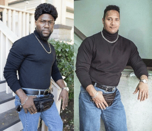 Kevin Hart recreating a classic photo of The Rock: Kevin Hart recreating a classic photo of The Rock