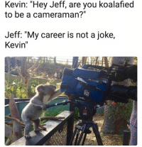 "jeffe: Kevin: Hey Jeff, are you koalafied  to be a cameraman?""  Jeff: ""My career is not a joke,  Kevin"""