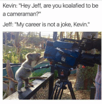 """My Career, You, and Kevin: Kevin: """"Hey Jeff, are you koalafied to be  a cameraman?""""  Jeff: """"My career is not a joke, Kevin."""""""