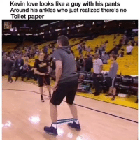 Cavs, Funny, and Kevin Love: Kevin love looks like a guy with his pants  Around his ankles who just realized there's no  Toilet paper The real walk of shame lmaooo NbaFinals Cavs