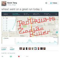"Run, Yolo, and Today: Kevin Tang  @Yolo_Tengo  Follow  whew! went on a great run today:)  Manday remy6.17 45:27 7'22 ""c  Run 13:40AM  0 Pace  1 733  733  3 726  722""  게""  Latapeme Pa  2  70  3 feet shert  Elevation  3,0374,627  5:08 PM-25 Feb 2016"