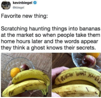 Memes, Weed, and Ghost: kevinbiegel  @kbiegel  Favorite new thing:  Scratching haunting things into bananas  at the market so when people take them  home hours later and the words appear  they think a ghost knows their secrets. Follow @marijuanadoctors if you smoke weed 🍁💨