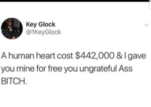 For free!!! by TheRealPifftastic MORE MEMES: Key Glock  @1KeyGlock  A human heart cost $442,000 & I gave  you mine for free you ungrateful Ass  BITCH For free!!! by TheRealPifftastic MORE MEMES