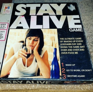 Dank, Shit, and Work: KEY  TO FUN  AGES  8 to  DULT  GAME  JECT  OLES  THE ULTIMATE GAME  OF WAKING UP EVERY  GODDAMN DAY AND  DOING THE SAME SHIT  OVER AND OVER AND  OVER FUCK ME  WAKE UP  2  3  GO TO WORK; OR DON'T  BEDTIME AGAIN!
