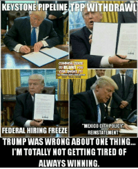 "Memes, Common, and Mexico: KEYSTONE PIPELINE TPP WITHDRAWL  COMMON SENSE  so UNT YOU  THE COMMON  DONT TREAD ON ME  ""MEXICO CITY POLICY  FEDERAL HIRING FREEZE  REINSTATEMENT  TRUMP WASWRONG ABOUTONETHING  I'M TOTALLY NOT GETTING TIRED OF  ALWAYS WINNING. I could get used to this ""winning"" thing. (DS)"