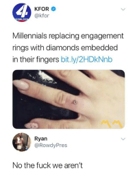 Millennials, Fuck, and Dank Memes: KFOR  @kfor  OR.CO  Millennials replacing engagement  rings with diamonds embedded  in their fingers bit.ly/2HDkNnb  Ryan  @RowdyPres  No the fuck we aren't Ain't nobody doing this 😂