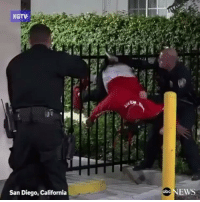"""Abc, Head, and Memes: KGTV  San Diego, California  Lu  NEWS  abc """"CAUGHT BY THE SEAT OF HIS PANTS: SanDiego man accused of hitting another man in the head with a rock gets his pants caught on a fence while being arrested"""" via: @ABCNews @pmwhiphop"""