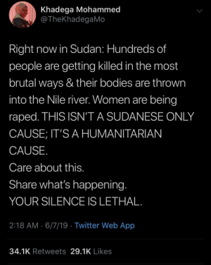 This shit is getting out of hand by ElectricalFinish MORE MEMES: Khadega Mohammed  @TheKhadegaMo  Right now in Sudan: Hundreds of  people are getting killed in the most  brutal ways & their bodies are thrown  into the Nile river. Women are being  raped. THIS ISN'T A SUDANESE ONLY  CAUSE; IT'S A HUMANITARIAN  CAUSE.  Care about this.  Share what's happening.  YOUR SILENCE IS LETHAL.  2:18 AM 6/7/19 Twitter Web App  34.1K Retweets 29.1K Likes This shit is getting out of hand by ElectricalFinish MORE MEMES