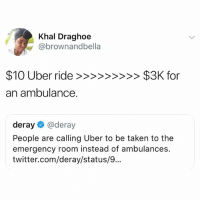 Life, Memes, and Taken: Khal Draghoe  @brownandbella  an ambulance.  deray@deray  People are calling Uber to be taken to the  emergency room instead of ambulances.  twitter.com/deray/status/9... If this ain't the life hacks of all life hacks