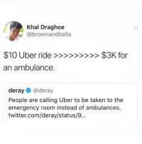 Memes, Taken, and Twitter: Khal Draghoe  @brownandbella  an ambulance  deray@deray  People are calling Uber to be taken to the  emergency room instead of ambulances.  twitter.com/deray/status/... (GC) Free market for the win
