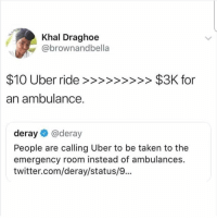 hi: Khal Draghoe  @brownandbella  an ambulance.  deray@deray  People are calling Uber to be taken to the  emergency room instead of ambulances.  twitter.com/deray/status/9... hi