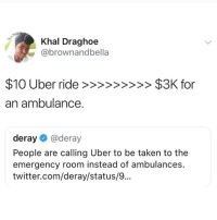 Deray: Khal Draghoe  @brownandbella  an ambulance.  deray@deray  People are calling Uber to be taken to the  emergency room instead of ambulances.  twitter.com/deray/status/9..