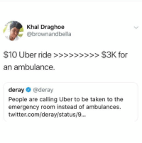 Deray: Khal Draghoe  @brownandbella  an ambulance.  deray@deray  People are calling Uber to be taken to the  emergency room instead of ambulances.  twitter.com/deray/status/9...