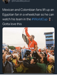Love, Meme, and World Cup: @KhaledBeydoun  Mexican and Colombian fans lift up an  Egyptian fan in a wheelchair so he can  Watch his team in the #WorldCup f  Gotta love this  다  6: <p>Not a meme, but here's some World Cup wholesomeness!</p>